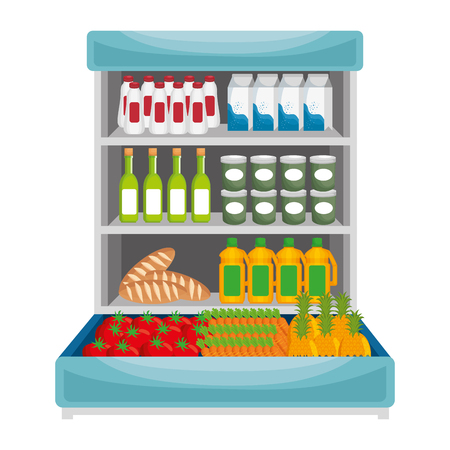 supermarket shelving with products vector illustration design
