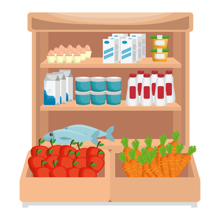 supermarket shelving with products vector illustration design Stock Vector - 115014079