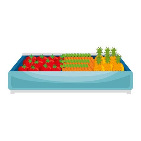 supermarket wooden shelf with vegetables vector illustration design