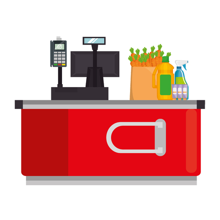 supermarket point of sale desk with voucher and products vector illustration Standard-Bild - 115014096