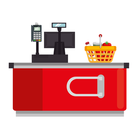 supermarket point of sale desk with voucher and basket vector illustration Illustration