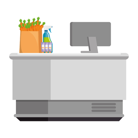supermarket point of sale desk with computer and products vector illustration