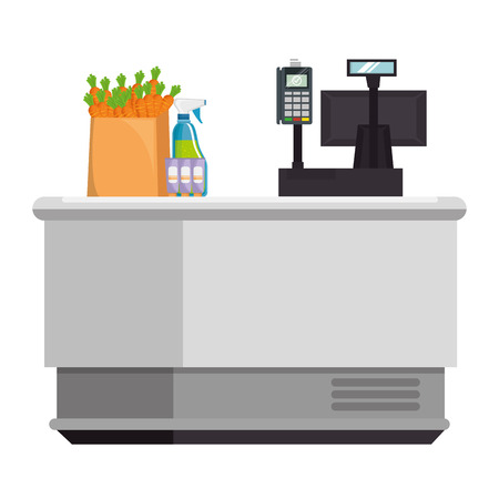 supermarket point of sale desk with voucher and products vector illustration Illustration