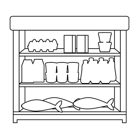 supermarket shelving with products vector illustration design Stock Vector - 104483347
