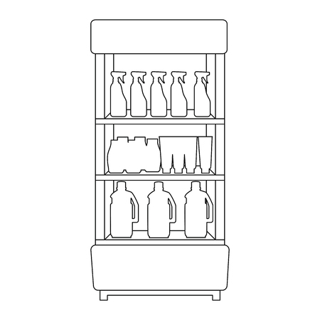 supermarket shelving with housekeeping products vector illustration design
