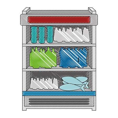 supermarket refrigerator with products vector illustration design Çizim