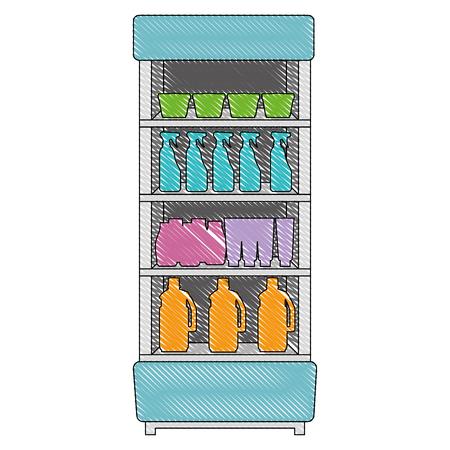 supermarket refrigerator with products vector illustration design Illustration
