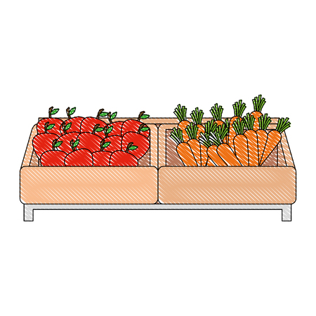 supermarket wooden shelf with carrots and apples vector illustration design