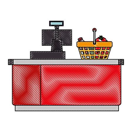 supermarket point of sale desk with voucher and basket vector illustration Çizim