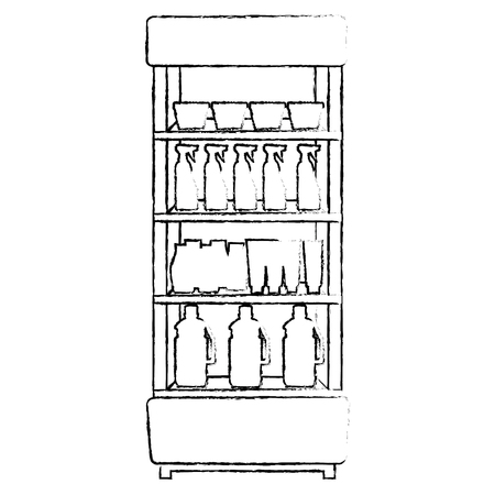 supermarket shelving with housekeeping products vector illustration design Stock Vector - 115014151
