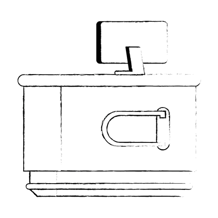 supermarket point of sale desk with computer vector illustration design Illustration