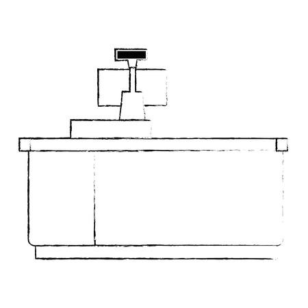 supermarket point of sale desk with computer vector illustration design
