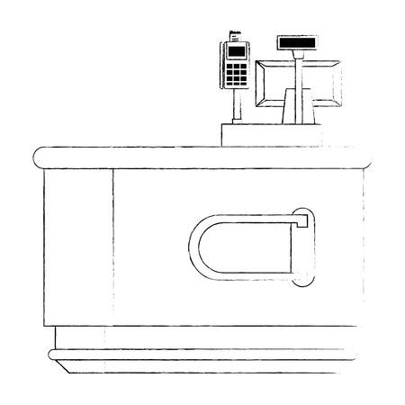 supermarket point of sale desk with voucher machine vector illustration design