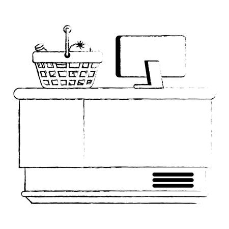 supermarket point of sale desk with voucher and basket vector illustration Ilustração