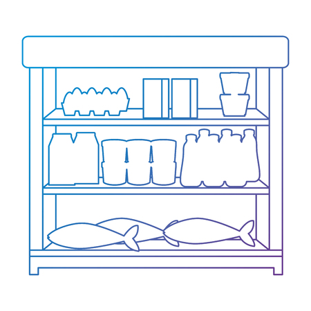 supermarket shelving with products vector illustration design Stock Vector - 104485127