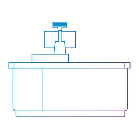 supermarket point of sale desk with computer vector illustration design Ilustração