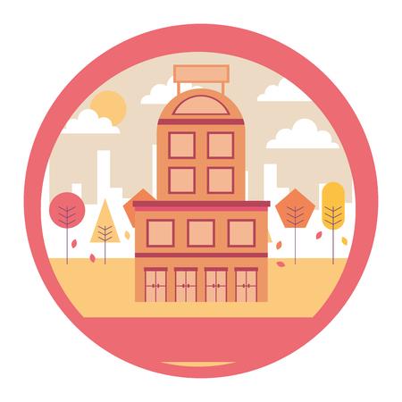 hotel building urban trees scene vector illustration