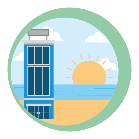 hotel building natural beach sunset landscape vector illustration Иллюстрация