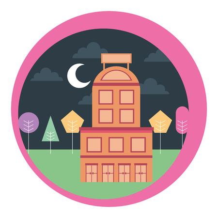 hotel building trees moon night scene vector illustration