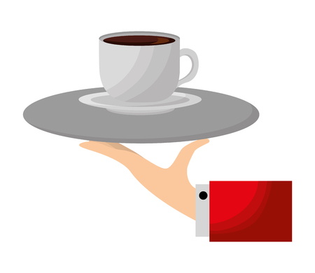 hand with tray service coffee cup on dish vector illustration Foto de archivo - 114994701