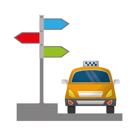 taxi service public arrow direction destination vector illustration Banque d'images - 114994703
