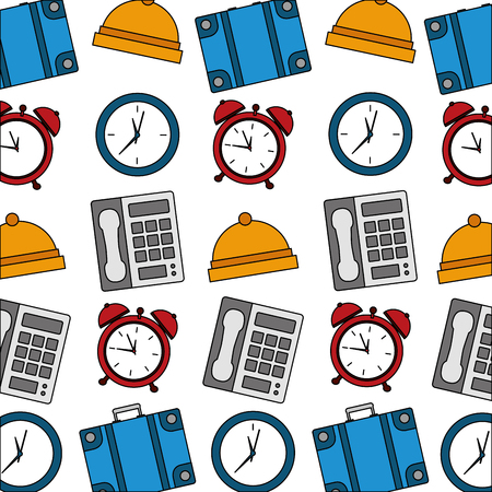 hotel telephone bell alarm clock suitcase pattern vector illustration Illustration