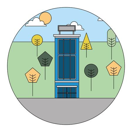 hotel building natural trees landscape vector illustration