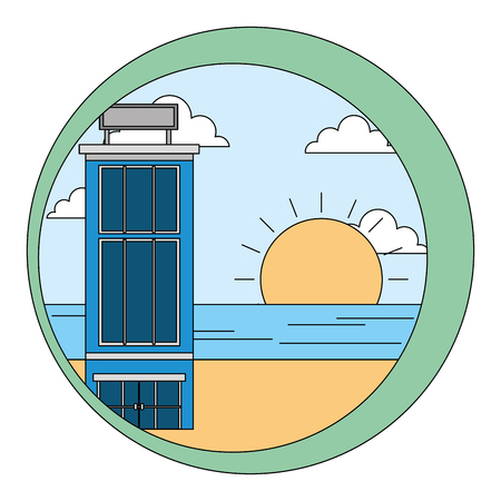 hotel building natural beach sunset landscape vector illustration  イラスト・ベクター素材