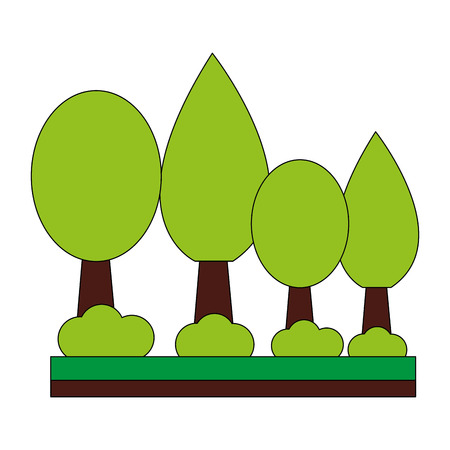 trees forest botanical natural bushes vector illustration