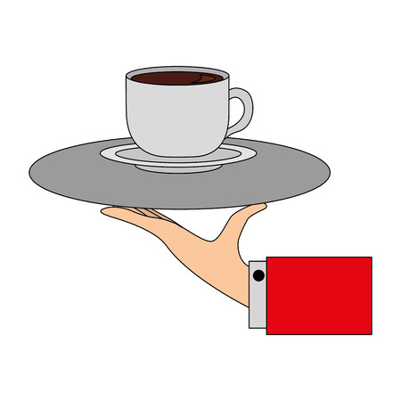 hand with tray service coffee cup on dish vector illustration Vecteurs