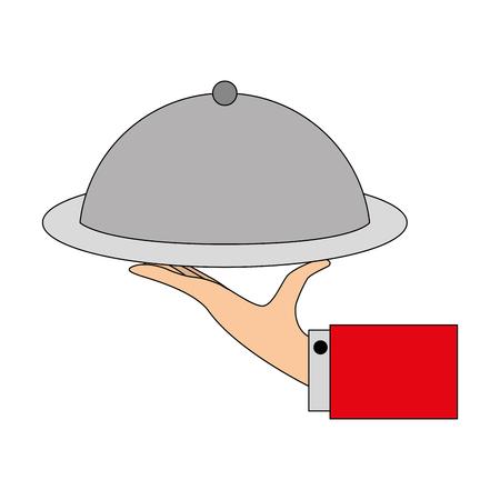 tray in hand catering service vector illustration Illustration