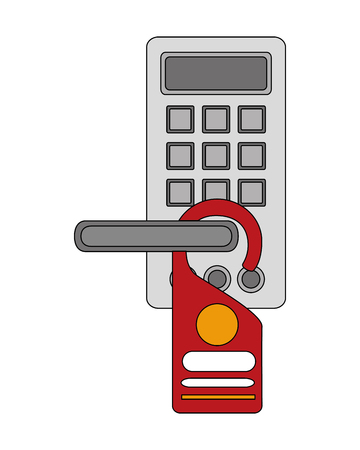 hotel door handle with electronic lock not disturb tag vector illustration Illustration
