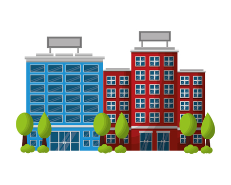 hotel building facade with trees vector illustration