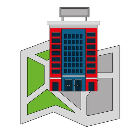 hotel building on navigation map location vector illustration Illustration