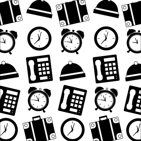 hotel telephone bell alarm clock suitcase pattern vector illustration black and white