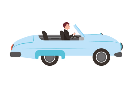 classic wedding car with housband marriage isolated icon vector illustration design Standard-Bild - 114994736