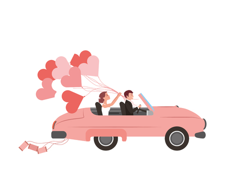 just married couple in car and balloon helium with shape heart vector illustration design Banco de Imagens - 114994737