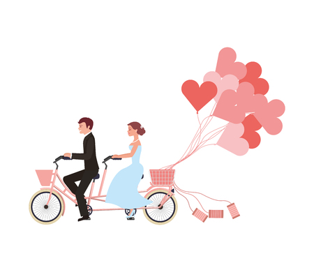 just married couple in bicycle and balloons helium with shape heart vector illustration design