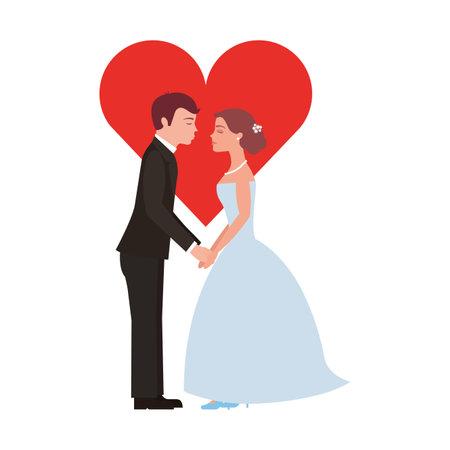 couple marié avec coeur avatar caractère vector illustration design