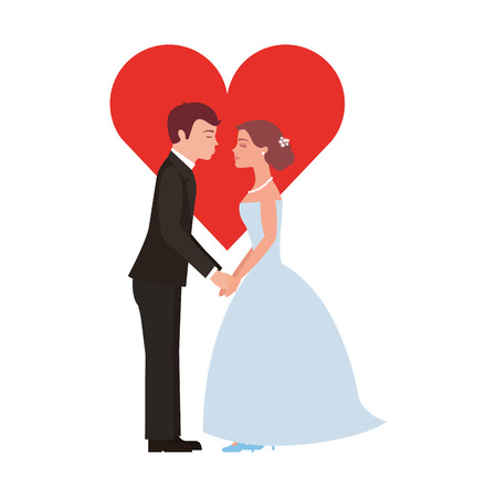 married couple with heart avatar character vector illustration design