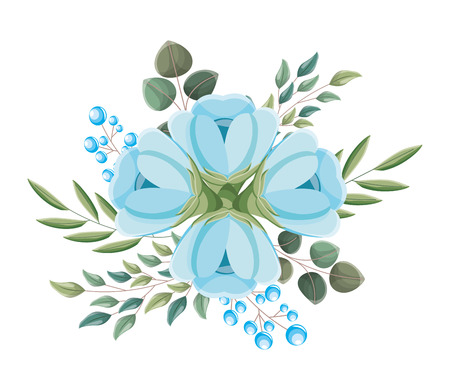 blue flowers leaves branch arrangement vector illustration Stock Illustratie