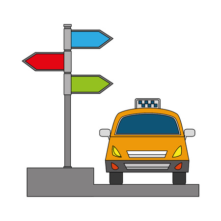 taxi service public arrow direction destination vector illustration Banque d'images - 104512822