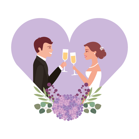 married couple with floral decoration in heart and cups vector illustration design