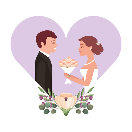 married couple with floral decoration in heart vector illustration design Фото со стока - 104523534