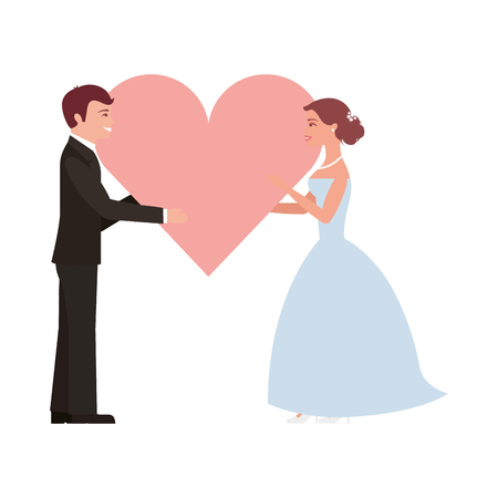 married couple with heart avatar character vector illustration design Ilustração