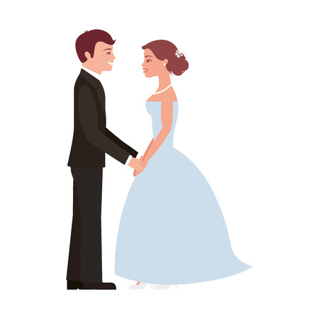 married couple avatar character vector illustration design