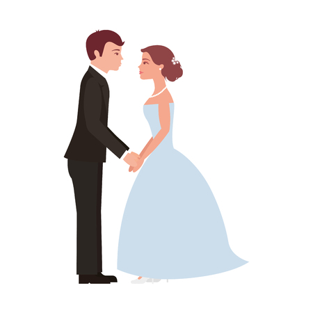 married couple dancing avatar character vector illustration design Ilustração