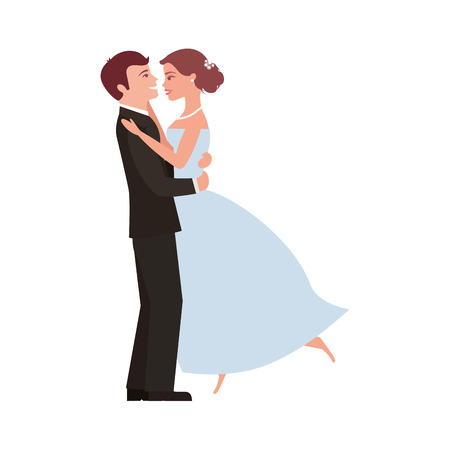 married couple dancing avatar character vector illustration design Illustration
