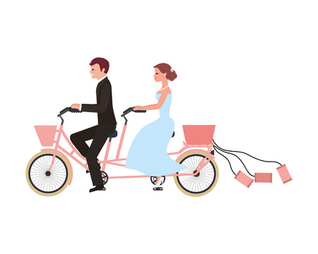 just married couple in bicycle tandem vector illustration design