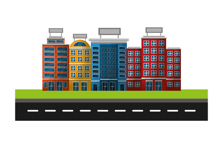 hotel buildings accommodation trees street vector illustration